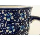 Bunzlauer Keramik Tasse MARS, Becher - blau/weiß - 0,3 Liter, Blumen (K081-J109)
