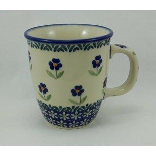 Bunzlauer Keramik Tasse MARS, Becher - blau/weiß - Blumen- 0,3 Liter, (K081-ASS)