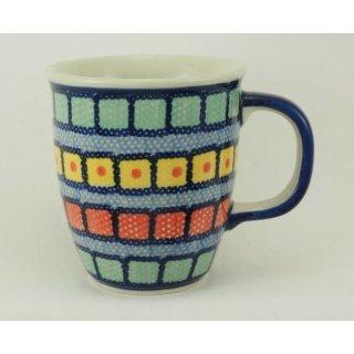 Bunzlauer Keramik Tasse MARS, Becher - blau/weiß/rot - 0,3 Liter, (K081-10)