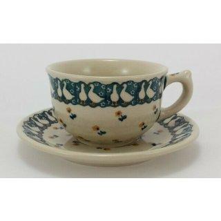 Bunzlauer Keramik Tasse mit Untertasse (F036-P322), Gänse, blau/weiß 0,3 Liter