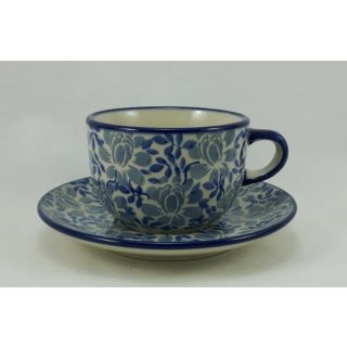 Bunzlauer Keramik Tasse mit Untertasse, Tee, Kaffee, UNIKAT (F043-AS53)