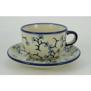 Bunzlauer Keramik Tasse mit Unterteller, Tee, Kaffee, Blumenranke (F043-P311)