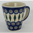 Bunzlauer Keramik Tasse modern eckig - 0,2 Liter, (K092-54), blau/weiß/grün
