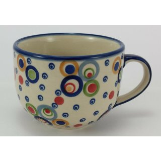Bunzlauer Keramik Tasse, Cappuccino, Milchcafe, UNIKAT modern, (F044-AS38) 0,45L