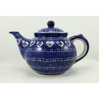 Bunzlauer Keramik Teekanne,  Kanne für 1,3Ltr. Tee, Herzen, blau/weiß (C017-DSS)