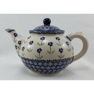 Bunzlauer Keramik Teekanne, Kanne für 1,3Liter Tee, (C017-ASS), Blumen