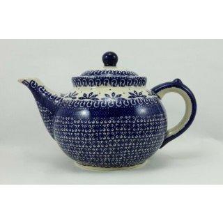 Bunzlauer Keramik Teekanne, Kanne für 1,3Liter Tee, blau/weiß (C017-WA)
