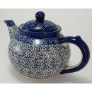 Bunzlauer Keramik Teekanne, Kanne für 1,3Liter Tee, blau/weiß, (C017-MAGM)