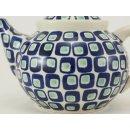 Bunzlauer Keramik Teekanne, Kanne für 1,3Liter Tee, blau/weiß, UNIKAT (C017-602A