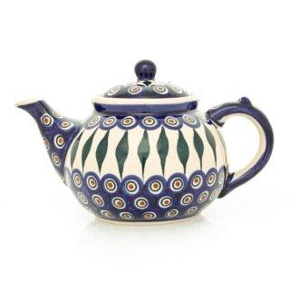 Bunzlauer Keramik Teekanne, Kanne für 1,3Liter Tee, blau/weiß/grün, (C017-54)
