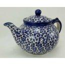 Bunzlauer Keramik Teekanne, Kanne für 1,3Liter Tee, blaue Punkte (C017-MAGD)