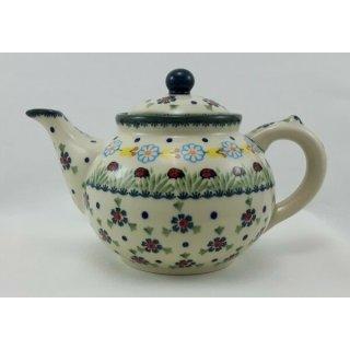 Bunzlauer Keramik Teekanne, Kanne für 1,3Liter Tee, Marienkäfer, (C017-IF45)