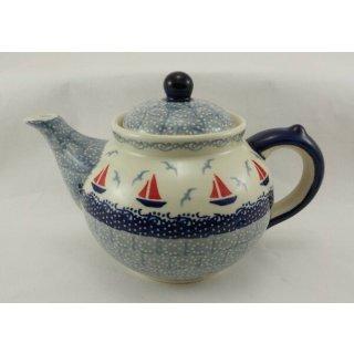 Bunzlauer Keramik Teekanne, Kanne für 1,3Liter Tee, Segelboote (C017-DPML)