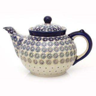 Bunzlauer Keramik Teekanne, Kanne für 1,3Liter Tee, UNIKAT (C017-AS55)