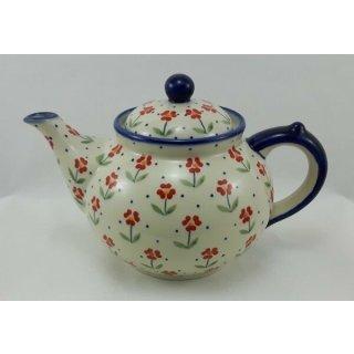Bunzlauer Keramik Teekanne, Kanne für 1,3Ltr. Tee, Blumen, rot/weiß (C017-AC61)