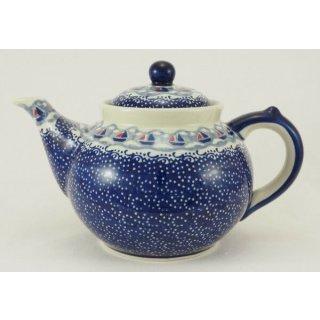 Bunzlauer Keramik Teekanne, Kanne für 1,3Ltr. Tee, Segelboote, blau/weiß (C017-DPMA)