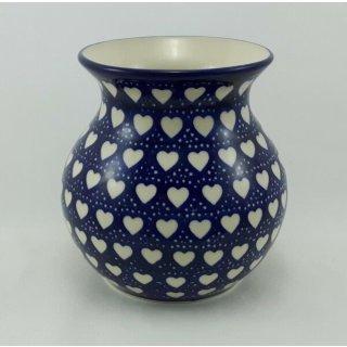 Bunzlauer Keramik Vase, Kugelvase, Blumen, Herzen, (W003-SEM)