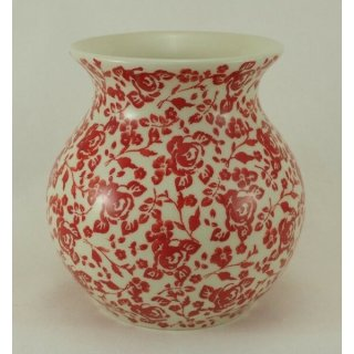 Bunzlauer Keramik Vase, Kugelvase, Rosenblüten, UNIKAT, (W003-GZ32)