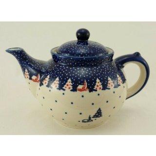 Bunzlauer Keramik Teekanne, Kanne für 1,3Liter Tee, blau/weiß, (C017-CHDK)