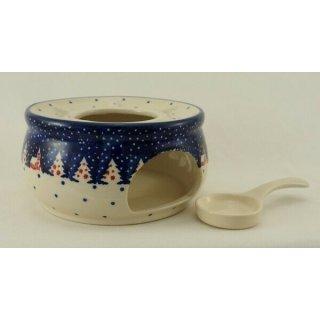Bunzlauer Keramik Stövchen für Teekanne 1,3Liter, Teelicht, ø16cm (P089-CHDK)