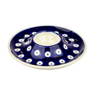 Bunzlauer Keramik Eierbecher mit Teller, (J051-70A) blau/weiß, Pünktchen