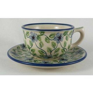 Bunzlauer Keramik Tasse mit Unterteller (F036-TAB1), U N I K AT - 0,3 Liter