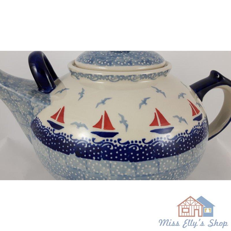 Bunzlauer Keramik Teekanne blau//weiß für 2,9Liter Tee Segelboote C001-DPML