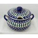 Bunzlauer Keramik Suppenterrine mit Deckel, 3,5Ltr, Punkte, blau/weiß (W004-54)