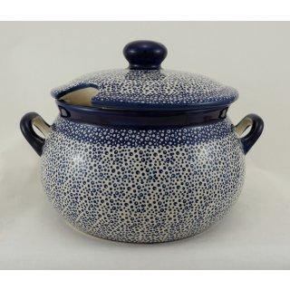 Bunzlauer Keramik Suppenterrine mit Deckel, 3,5Ltr, Punkte, blau/weiß (W004-MAGM)