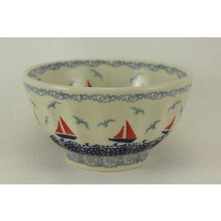 Bunzlauer Keramik Schale, Müsli, Teeschale, Schüssel, Segelboote (C018-DPML)