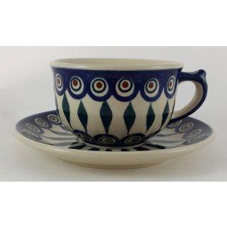 Bunzlauer Keramik Tasse mit Unterteller (F036-54), blau/weiß 0,3Liter