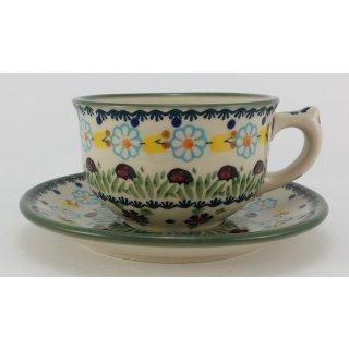 Bunzlauer Keramik Tasse mit Unterteller (F036-IF45),  0,3Liter