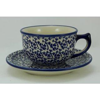 Bunzlauer Keramik Tasse mit Unterteller (F036-P364), blau/weiß 0,3Liter