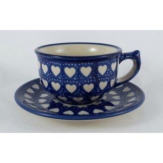 Bunzlauer Keramik Tasse mit Unterteller (F036-SEM), Herzen, blau/weiß 0,3Liter