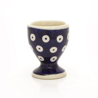 Bunzlauer Keramik Eierbecher, (J050-70A) Punkte, blau/weiß