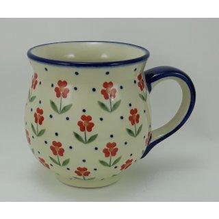 Bunzlauer Keramik Tasse BÖHMISCH  - Blumen - rot/weiß/grün - 0,45 Liter, (K068-AC61)