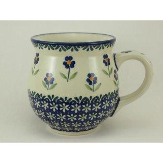 Bunzlauer Keramik Tasse BÖHMISCH  - Blumen - blau/weiß/grün - 0,45 Liter, (K068-ASS)