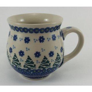 Bunzlauer Keramik Tasse BÖHMISCH  - Tannen - blau/weiß/grün - 0,45 Liter, (K068-U22)