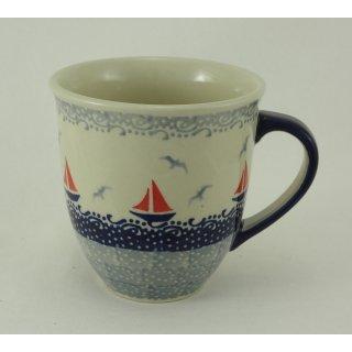 Bunzlauer Keramik Tasse MARS Maxi - Becher - blau/weiß - 0,43 Liter, (K106-DPML)