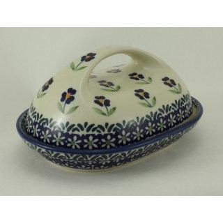 Bunzlauer Keramik Butterdose  für 250g Butter, blau/weiß/grün (M077-ASS)