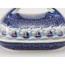 Bunzlauer Keramik Butterdose  für 250g Butter, blau/weiß/rot (M077-DPMA)