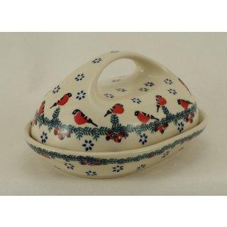 Bunzlauer Keramik Butterdose  für 250g Butter, rot/weiß/grün (M077-GILE)