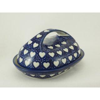 Bunzlauer Keramik Butterdose  für 250g Butter, blau/weiß, Herzen (M077-SEM)