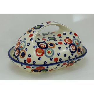 Bunzlauer Keramik Butterdose, für 250g Butter, modernes Design, UNIKAT (M077-AS38)