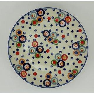Bunzlauer Keramik Teller, Essteller, Kuchenteller, Frühstück, ø 22cm, UNIKAT (T134-AS38)