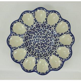 Bunzlauer Keramik Eierteller, Eierplatte, Servierteller, für 12 Eier, (T140-MAGD)