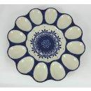 Bunzlauer Keramik Eierteller, Eierplatte, Servierteller, für 12 Eier, (T140-WA)