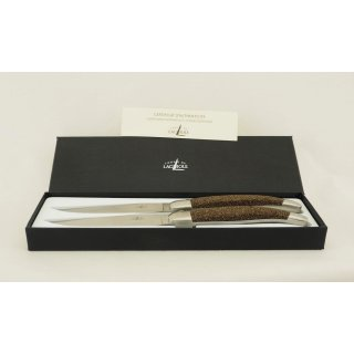 FORGE DE LAGUIOLE, Sandgriff, 2er Set Tafelmesser, Steakmesser, satinierte Klinge Edelstahl