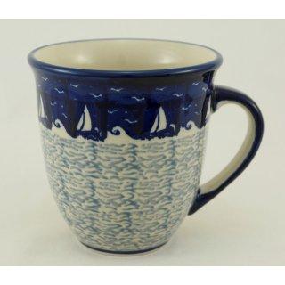 Bunzlauer Keramik Tasse MARS Maxi - Becher - blau/weiß - 0,43 Liter, (K106-LK04)