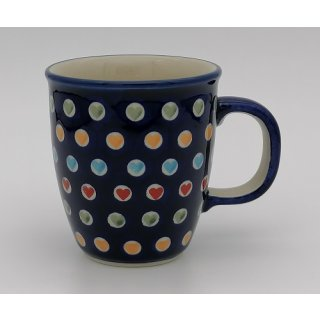 Bunzlauer Keramik Tasse MARS, Becher, Herzen, UNIKAT - 0,3 Liter (K081-AS70S)